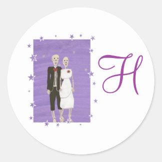 Skeleton Couple Monogram Wedding Seals Round Sticker