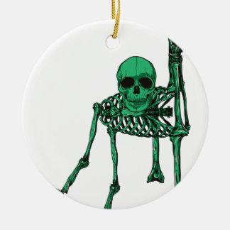 Skeleton Creepy Yoga Skull Dancing Round Ceramic Decoration