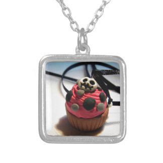 Skeleton Cupcake Square Pendant Necklace