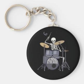 Skeleton Drummer Basic Round Button Key Ring