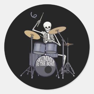 Skeleton Drummer Classic Round Sticker