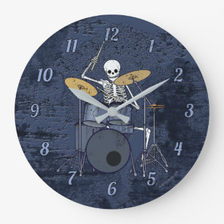 Skeleton Drummer Large Clock