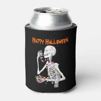 Skeleton Eating Halloween Candy Can Cooler