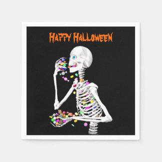 Skeleton Eating Halloween Candy Disposable Napkin