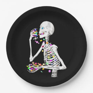 Skeleton Eating Halloween Candy Paper Plate