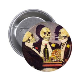 Skeleton Gamblers 6 Cm Round Badge