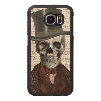 Skeleton Gentleman and Top hat Wood Phone Case