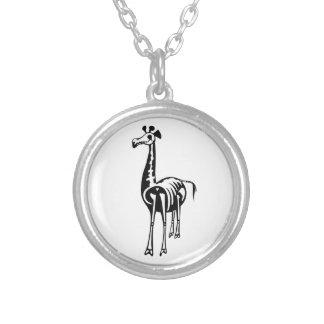 Skeleton Giraffe Silver Plated Necklace