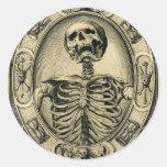 Skeleton, Goth, Mediaeval Round Sticker