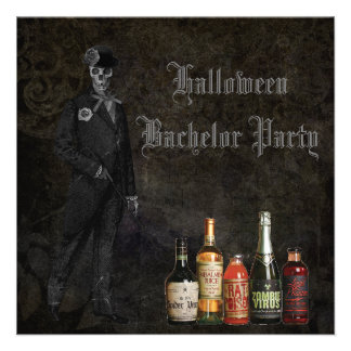 Skeleton Groom & Poison Halloween Bachelor Party Invitations
