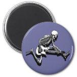Skeleton Guitarist Jump 6 Cm Round Magnet