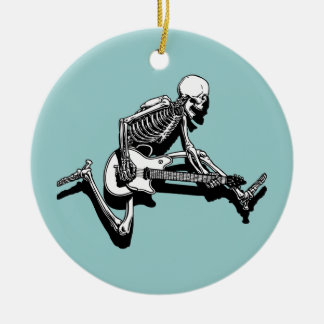 Skeleton Guitarist Jump Christmas Ornament