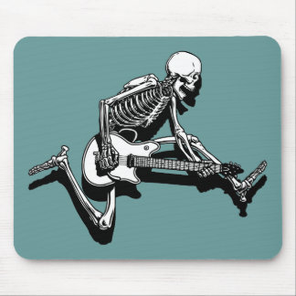 Skeleton Guitarist Jump Mouse Pad