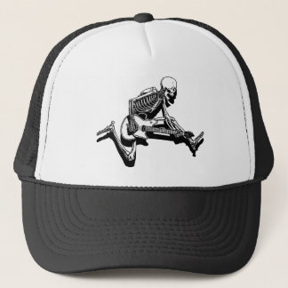 Skeleton Guitarist Jump Trucker Hat