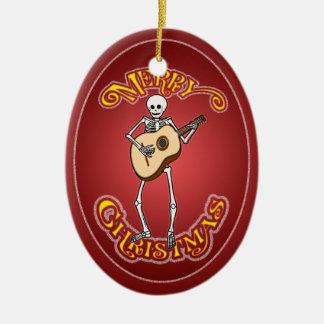 Skeleton Guitarron Player Christmas Ornament