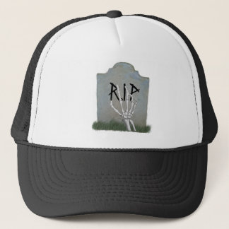 skeleton hand and grave tomb. trucker hat