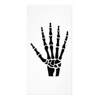 Skeleton hand finger photo greeting card