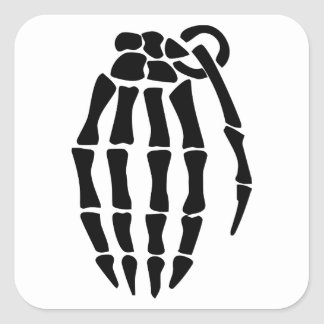 Skeleton Hand Grenade Square Sticker
