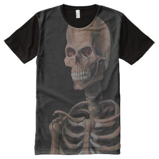 Skeleton Hand Painted All-Over Print T-Shirt