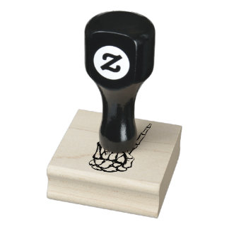 "Skeleton Hand Peace Sign 2"" x 2"" Rubber Stamp"