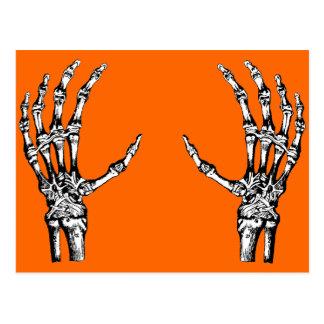 Skeleton hands postcard