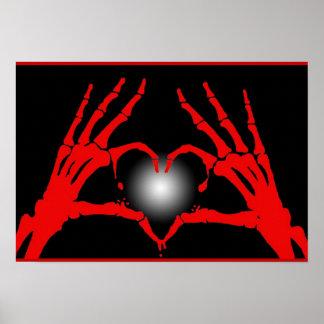 Skeleton Hands Red Heart Poster