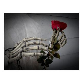 Skeleton hands rose postcard