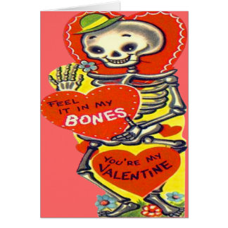 Skeleton Heart Halloween Vintage Valentine Card