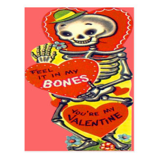 Skeleton Heart Halloween Vintage Valentine Postcard