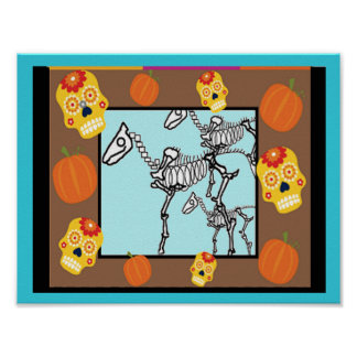 Skeleton Horses, Day of the Dead Poster