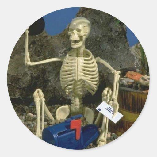 Skeleton Humor Round Sticker