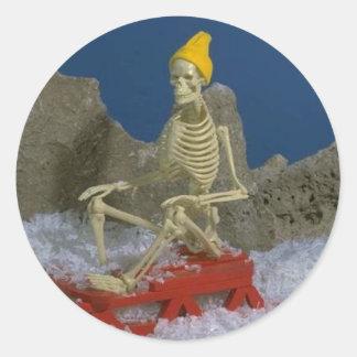 Skeleton Humor Round Stickers