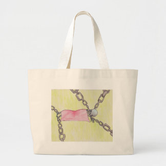 skeleton in chains large tote bag
