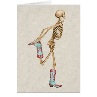 Skeleton in Colorful Cowboy Boots Card