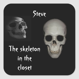 Skeleton in the Closet Personalized Square Stickers