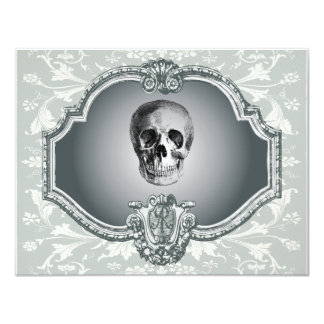 "Skeleton In The Mirror Halloween 4.25"" X 5.5"" Invitation Card"
