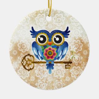 Skeleton Key Owl Christmas Ornament