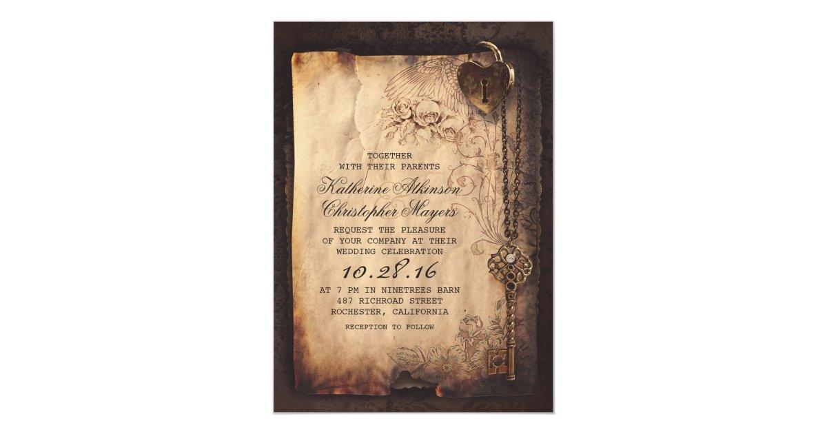 skeleton key vintage wedding invitations | Zazzle