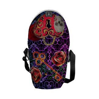 Skeleton Lock and Key Purple Messenger Bag