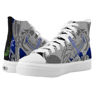 Skeleton Lovers Silver Canvas High Tops Printed Shoes
