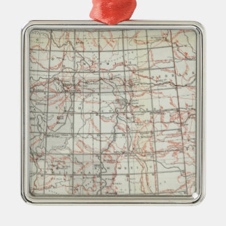 Skeleton Map Silver-Colored Square Decoration