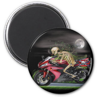 Skeleton Motorcycle items 6 Cm Round Magnet