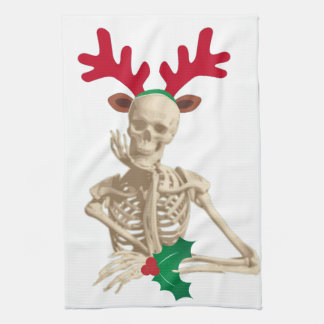 skeleton nightmare christmas tea towel