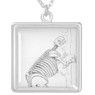 Skeleton of a Mylodon Silver Plated Necklace