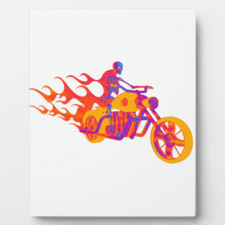 Skeleton on a Motorcycle Display Plaque