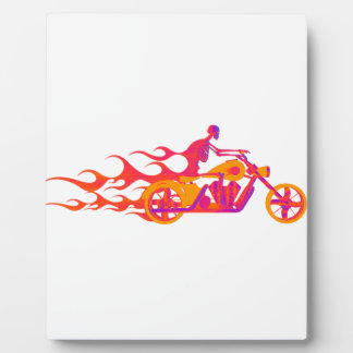 Skeleton on a Motorcycle Display Plaques