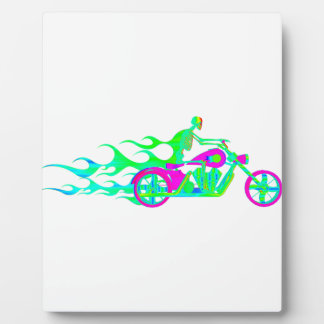 Skeleton on a Motorcycle Photo Plaques