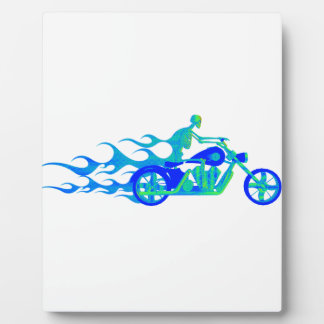 Skeleton on a Motorcycle Plaque