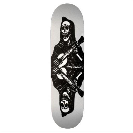 Skeleton on Guitar Cool Skate Board