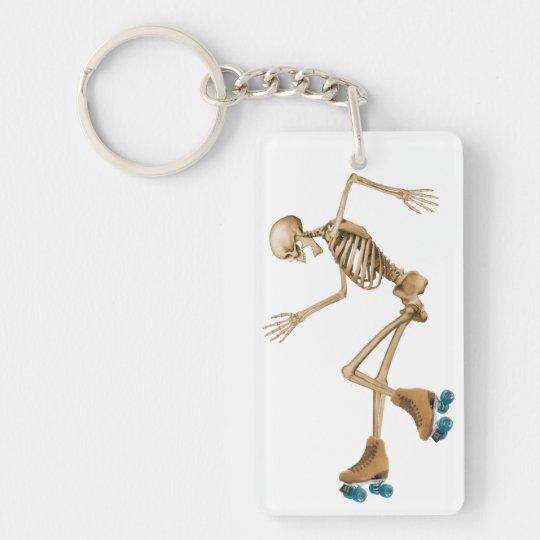 Skeleton on Roller Skates Key Ring
